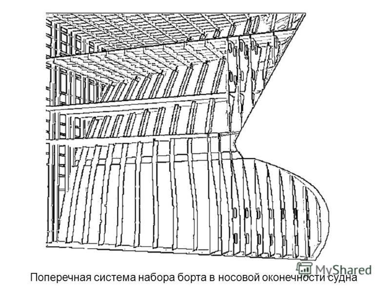 Поперечная система набора борта в носовой оконечности судна