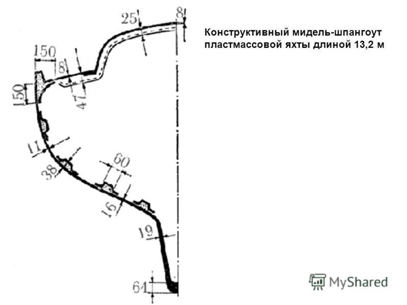 Конструктивный мидель-шпангоут пластмассовой яхты длиной 13,2 м