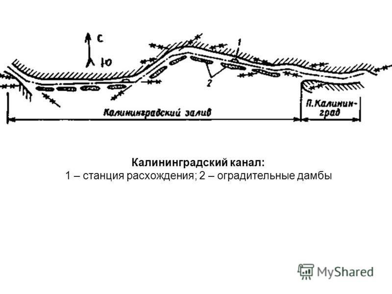 Калининградский канал: 1 – станция расхождения; 2 – оградительные дамбы