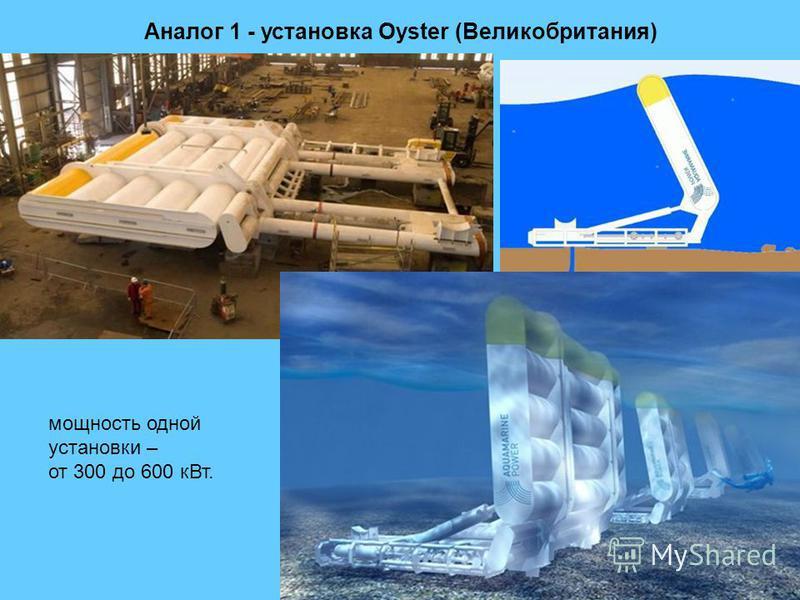 Аналог 1 - установка Oyster (Великобритания) мощность одной установки – от 300 до 600 к Вт.