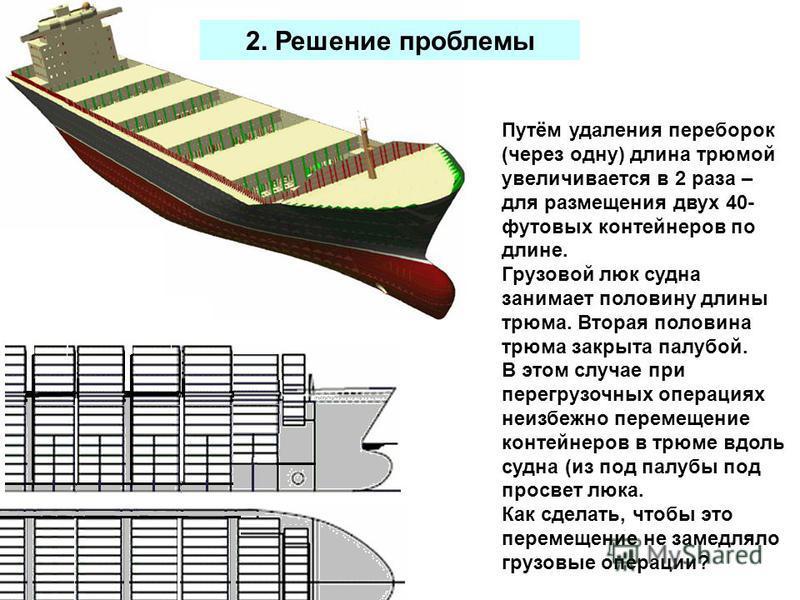 2. Решение проблемы Путём удаления переборок (через одну) длина трюмой увеличивается в 2 раза – для размещения двух 40- футовых контейнеров по длине. Грузовой люк судна занимает половину длины трюма. Вторая половина трюма закрыта палубой. В этом случ