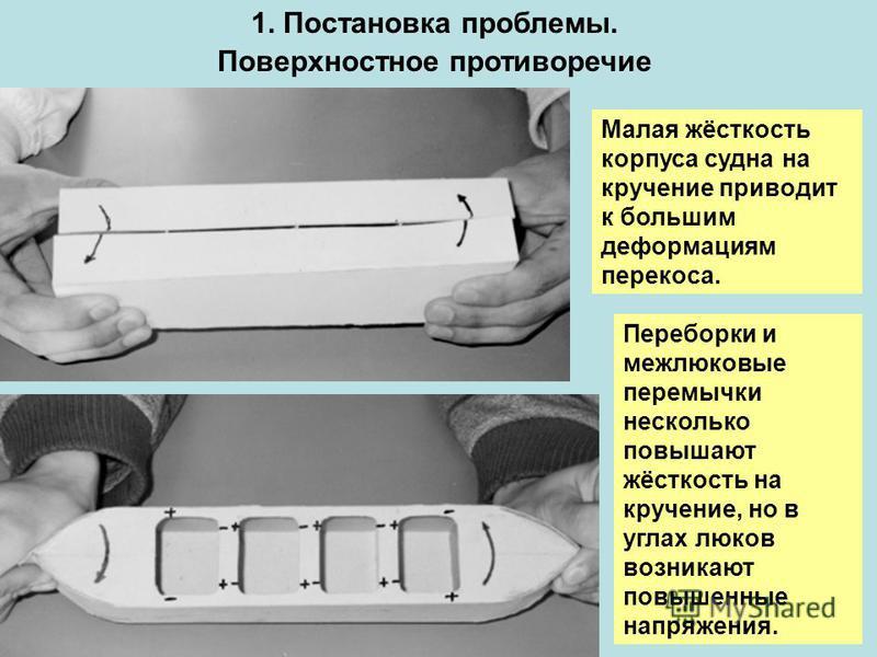 Малая жёсткость корпуса судна на кручение приводит к большим деформациям перекоса. Переборки и межлюковые перемычки несколько повышают жёсткость на кручение, но в углах люков возникают повышенные напряжения. 1. Постановка проблемы. Поверхностное прот
