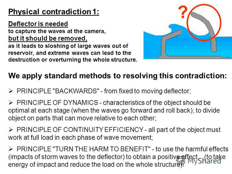 Physical contradiction 1: Deflector is needed to capture the waves at the camera, but it should be removed, as it leads to sloshing of large waves out of reservoir, and extreme waves can lead to the destruction or overturning the whole structure. We