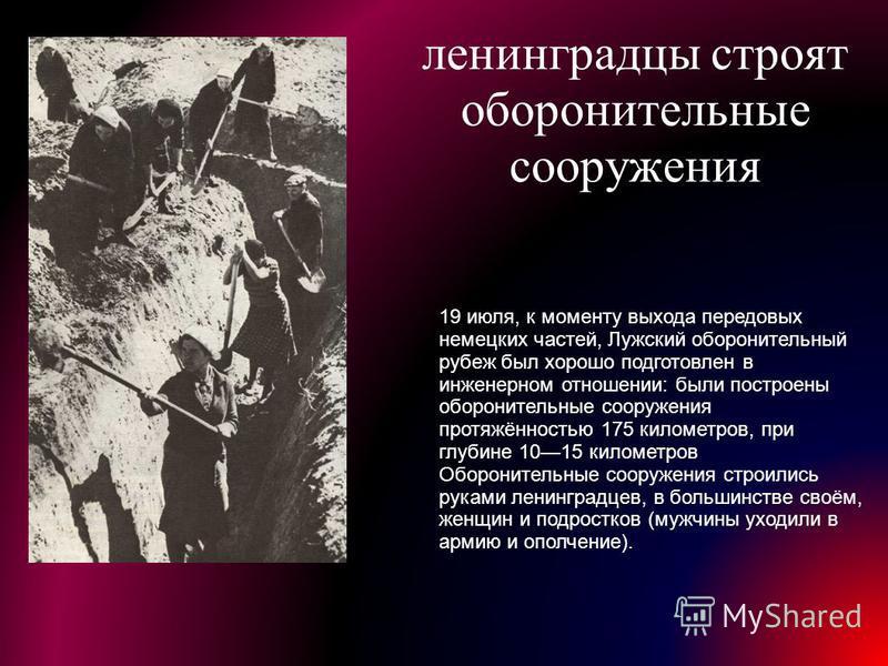 ленинградцы строят оборонительные сооружения 19 июля, к моменту выхода передовых немецких частей, Лужский оборонительный рубеж был хорошо подготовлен в инженерном отношении: были построены оборонительные сооружения протяжённостью 175 километров, при