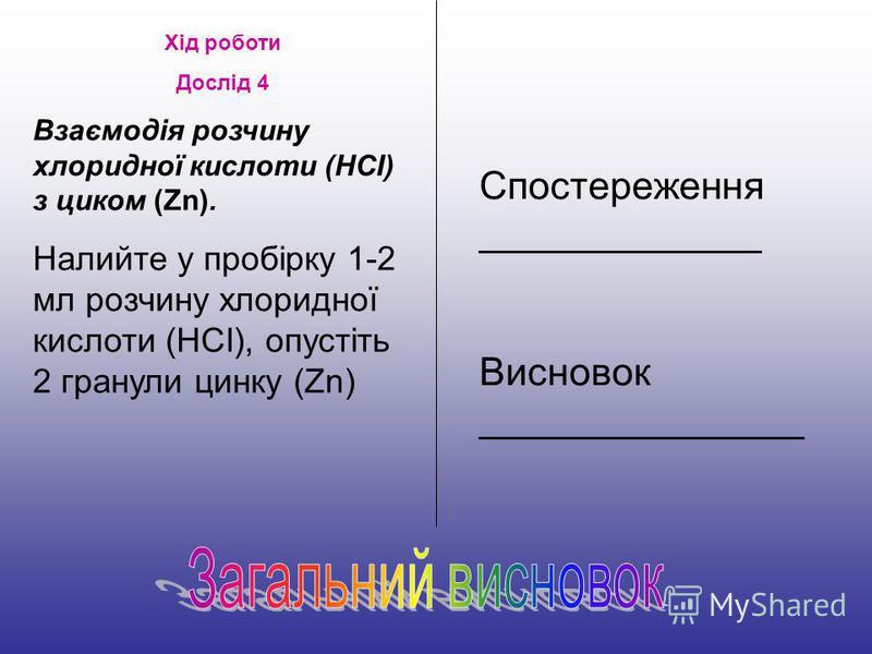 Хід роботи Дослід 4 Взаємодія розчину хлоридної кислоти (НСІ) з циком (Zn). Налийте у пробірку 1-2 мл розчину хлоридної кислоти (НСІ), опустіть 2 гранули цинку (Zn) Спостереження _____________ Висновок _______________