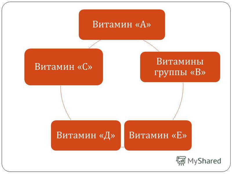 Витамин « А » Витамины группы « В » Витамин « Е » Витамин « Д » Витамин « С »