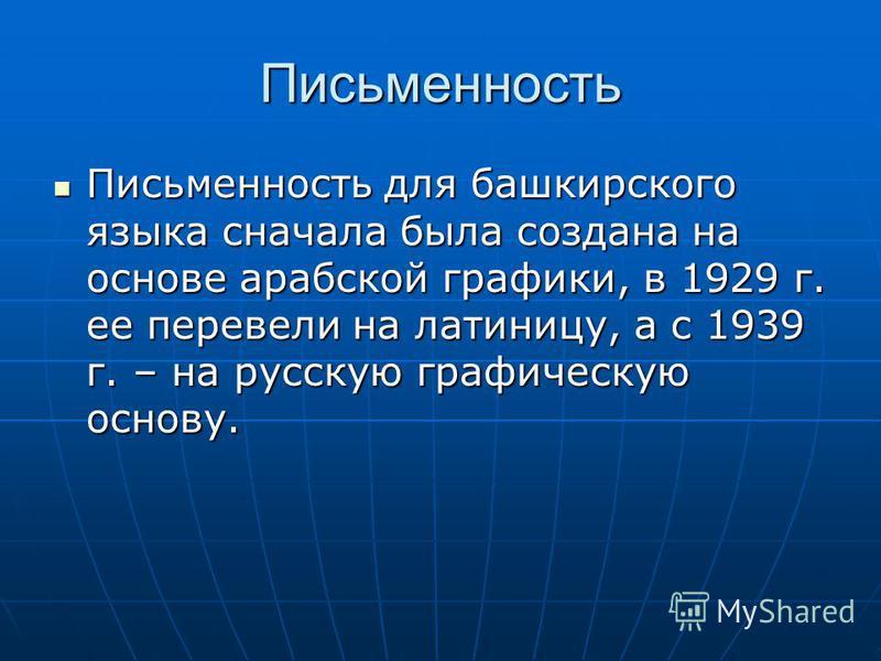 Письменность Письменность для башкирского языка сначала была создана на основе арабской графики, в 1929 г. ее перевели на латиницу, а с 1939 г. – на русскую графическую основу. Письменность для башкирского языка сначала была создана на основе арабско