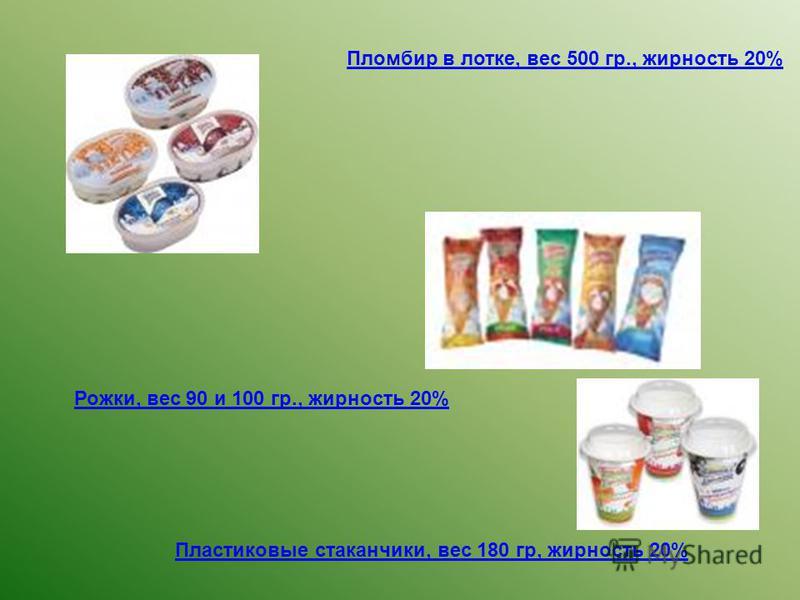 Пломбир в лотке, вес 500 гр., жирность 20% Рожки, вес 90 и 100 гр., жирность 20% Пластиковые стаканчики, вес 180 гр, жирность 20%