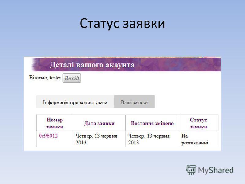 Статус заявки