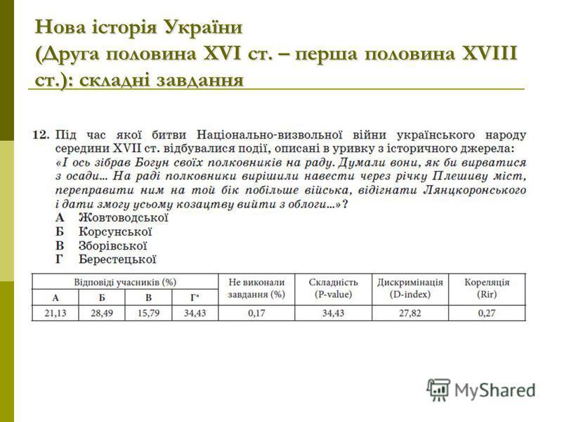Нова історія України (Друга половина ХVІ ст. – перша половина XVIII ст.): складні завдання