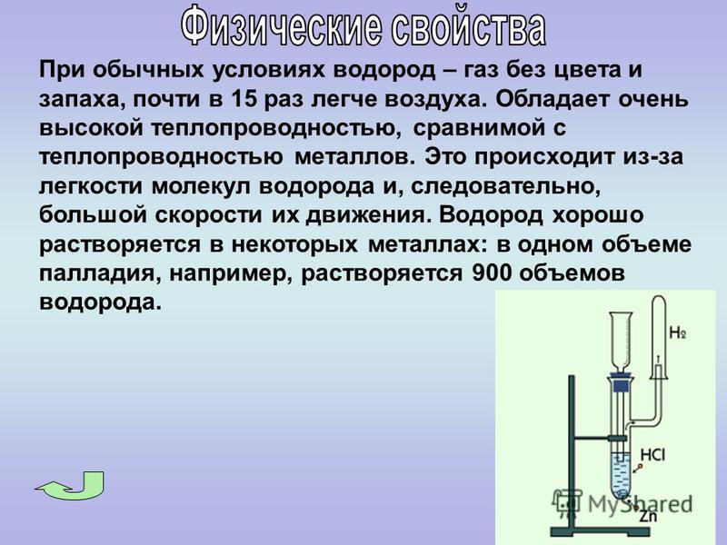 При обычных условиях водород – газ без цвета и запаха, почти в 15 раз легче воздуха. Обладает очень высокой теплопроводностью, сравнимой с теплопроводностью металлов. Это происходит из-за легкости молекул водорода и, следовательно, большой скорости и