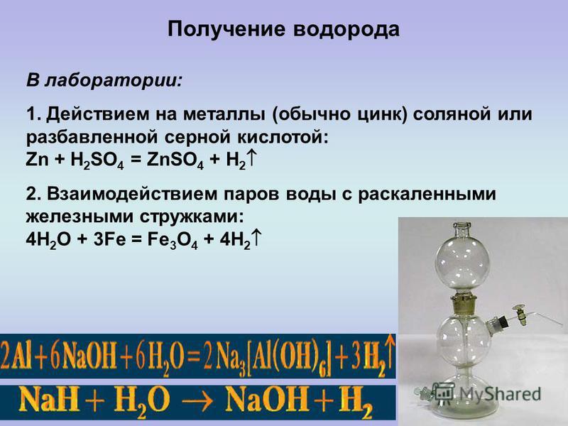 Получение водорода В лаборатории: 1. Действием на металлы (обычно цинк) соляной или разбавленной серной кислотой: Zn + H 2 SO 4 = ZnSO 4 + H 2 2. Взаимодействием паров воды с раскаленными железными стружками: 4H 2 O + 3Fe = Fe 3 O 4 + 4H 2