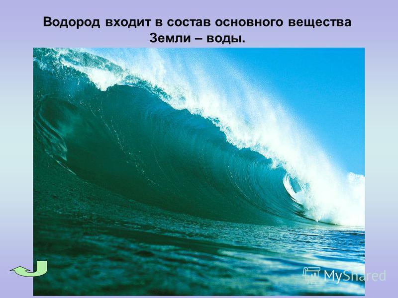 Водород входит в состав основного вещества Земли – воды.
