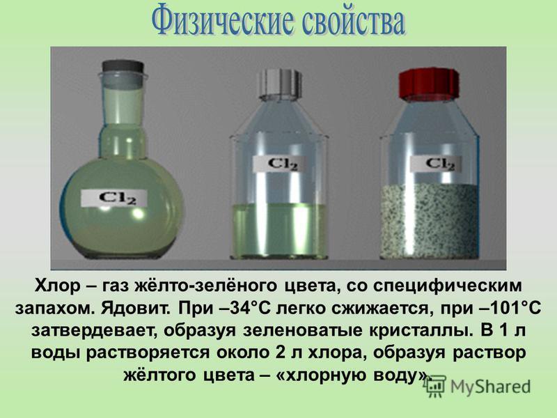 Хлор – газ жёлто-зелёного цвета, со специфическим запахом. Ядовит. При –34°С легко сжижается, при –101°С затвердевает, образуя зеленоватые кристаллы. В 1 л воды растворяется около 2 л хлора, образуя раствор жёлтого цвета – «хлорную воду».