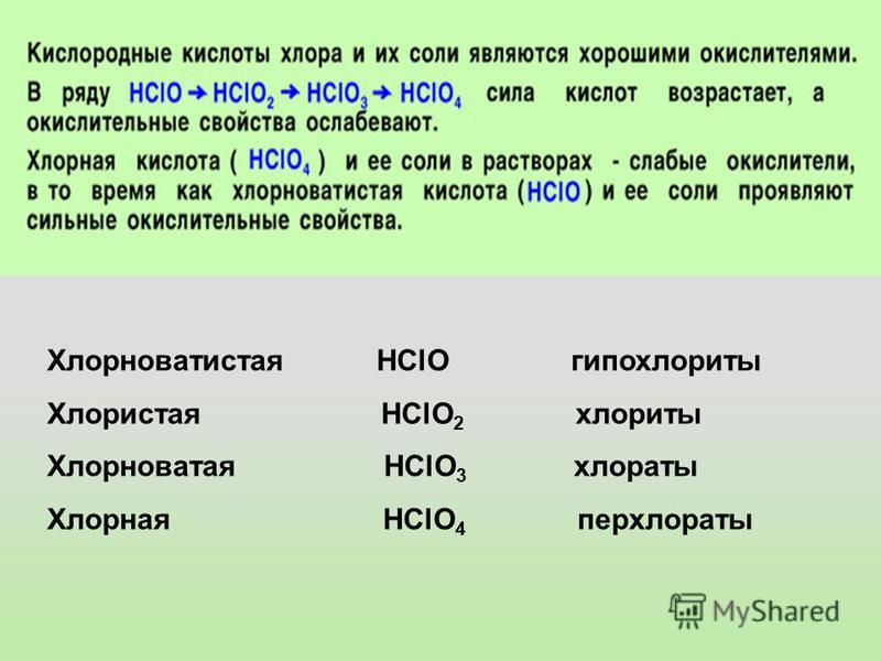 Хлорноватистая HClO гипохлориты Хлористая HClO 2 хлориты Хлорноватая HClO 3 хлораты Хлорная HClO 4 перхлораты