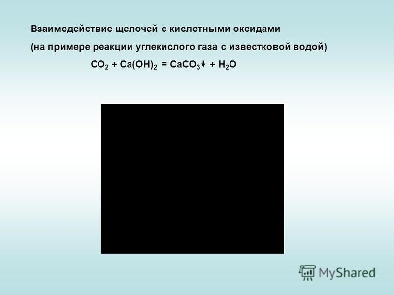 Взаимодействие щелочей с кислотными оксидами (на примере реакции углекислого газа с известковой водой) СО 2 + Са(ОН) 2 = СаСО 3 + Н 2 О