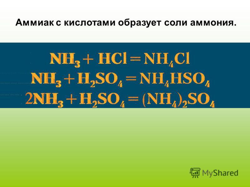 Аммиак с кислотами образует соли аммония.