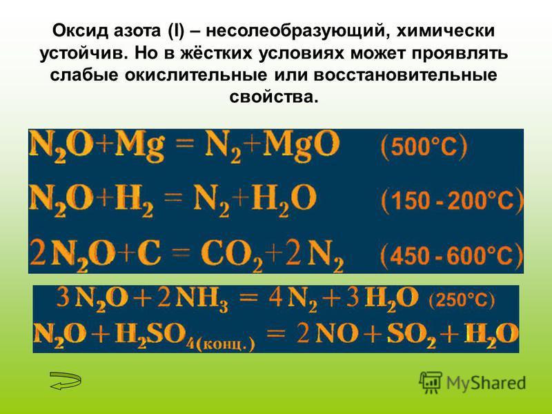 Оксид азота (I) – несолеобразующий, химически устойчив. Но в жёстких условиях может проявлять слабые окислительные или восстановительные свойства.