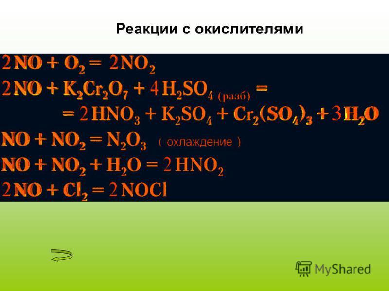 Реакции с окислителями