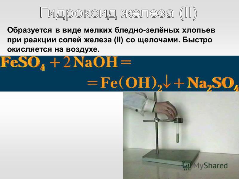 Образуется в виде мелких бледно-зелёных хлопьев при реакции солей железа (II) со щелочами. Быстро окисляется на воздухе.