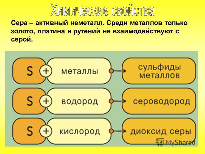 Сера – активный неметалл. Среди металлов только золото, платина и рутений не взаимодействуют с серой.