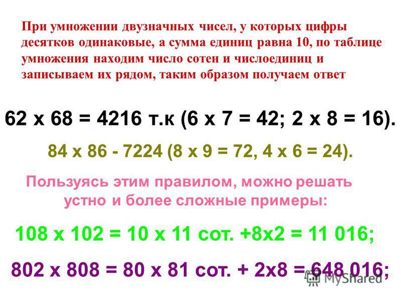 При умножении двузначных чисел, у которых цифры десятков одинаковые, а сумма единиц равна 10, по таблице умножения находим число сотен и число единицы записываем их рядом, таким образом получаем ответ 62 х 68 = 4216 т.к (6 х 7 = 42; 2 х 8 = 16). 84 х