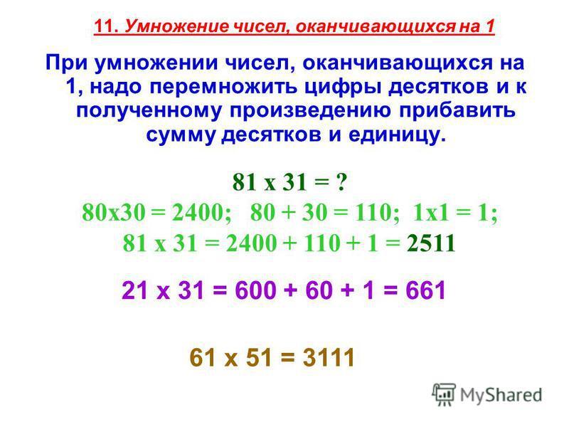 11. Умножение чисел, оканчивающихся на 1 При умножении чисел, оканчивающихся на 1, надо перемножить цифры десятков и к полученному произведению прибавить сумму десятков и единицу. 81 х 31 = ? 80x30 = 2400; 80 + 30 = 110; 1x1 = 1; 81 х 31 = 2400 + 110