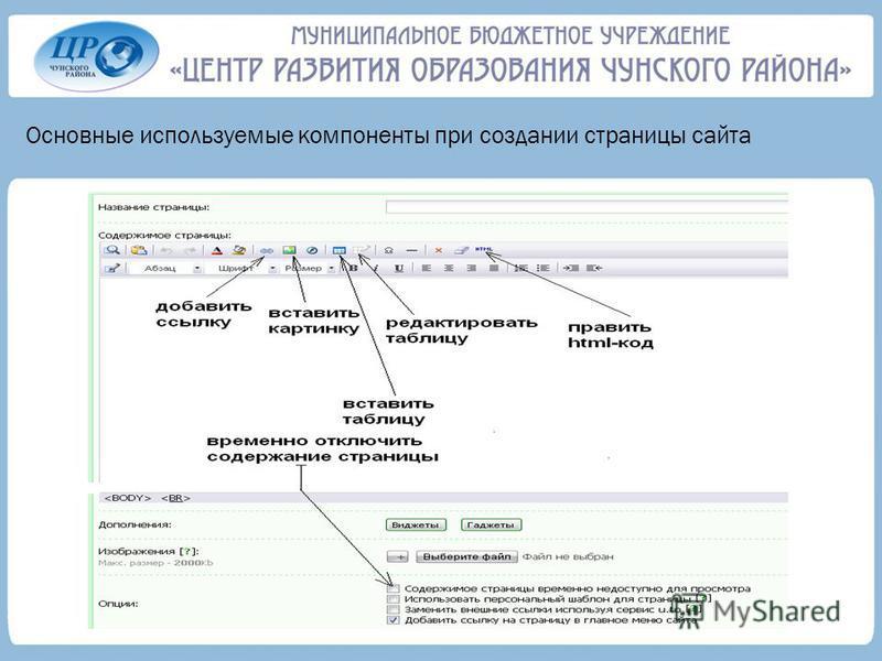 Основные используемые компоненты при создании страницы сайта