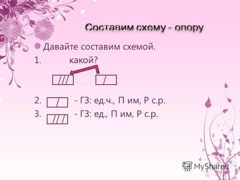 Давайте составим схемой. 1. какой? 2. - ГЗ: ед.ч., П им, Р с.р. 3. - ГЗ: ед., П им, Р с.р.