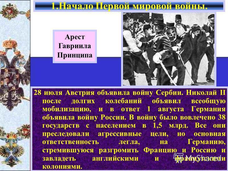 28 июля Австрия объявила войну Сербии. Николай II после долгих колебаний объявил всеобщую мобилизацию, и в ответ 1 августа Германия объявила войну России. В войну было вовлечено 38 государств с населением в 1,5 млрд. Все они преследовали агрессивные
