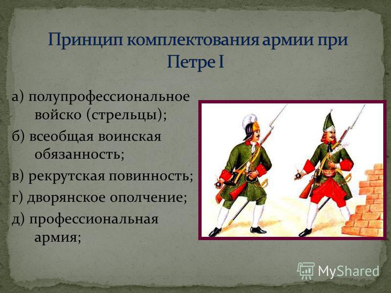 а) полупрофессиональное войско (стрельцы); б) всеобщая воинская обязанность; в) рекрутская повинность; г) дворянское ополчение; д) профессиональная армия;