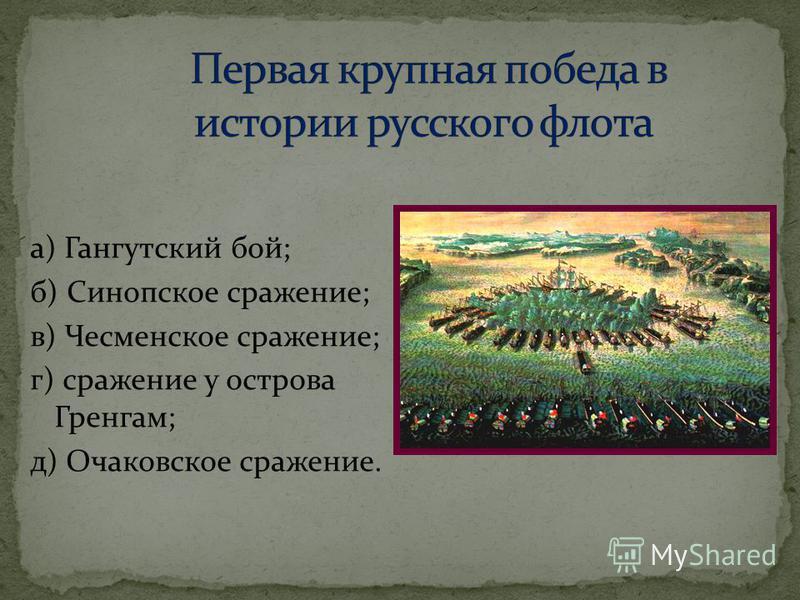 а) Гангутский бой; б) Синопское сражение; в) Чесменское сражение; г) сражение у острова Гренгам; д) Очаковское сражение.