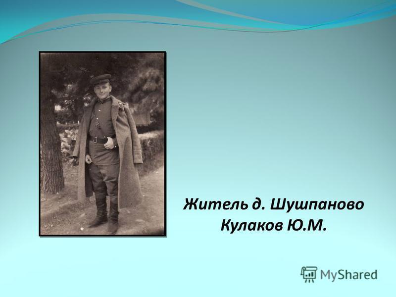Житель д. Шушпаново Кулаков Ю.М.