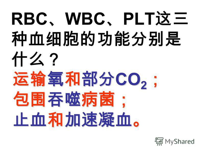 RBC WBC PLT CO 2 CO 2