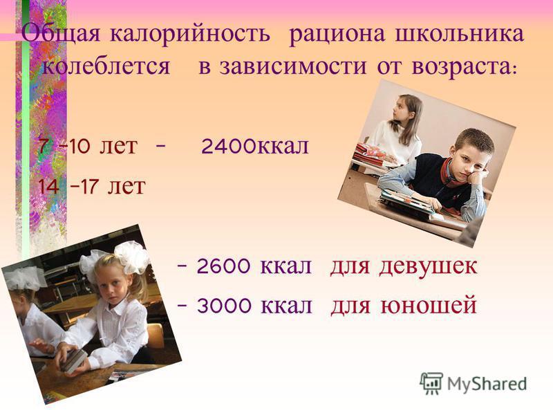 Общая калорийность рациона школьника колеблется в зависимости от возраста : 7 –10 лет - 2400 ккал 14 –17 лет - 2600 ккал для девушек - 3000 ккал для юношей