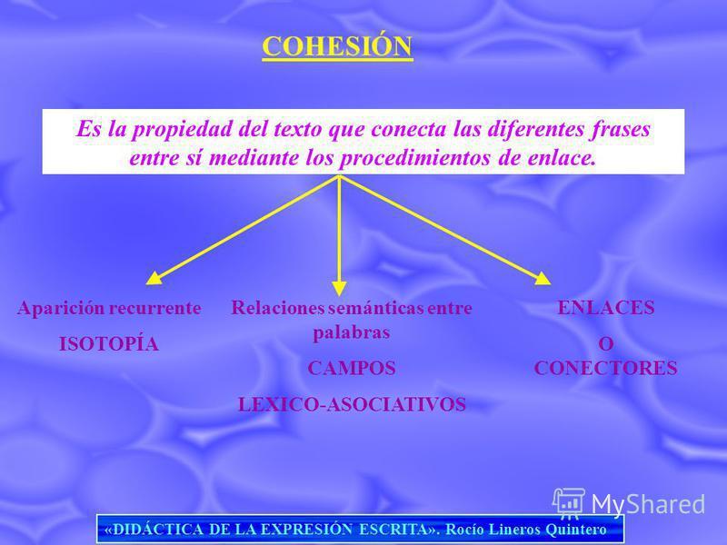 COHESIÓN Es la propiedad del texto que conecta las diferentes frases entre sí mediante los procedimientos de enlace. Aparición recurrente ISOTOPÍA Relaciones semánticas entre palabras CAMPOS LEXICO-ASOCIATIVOS ENLACES O CONECTORES «DIDÁCTICA DE LA EX