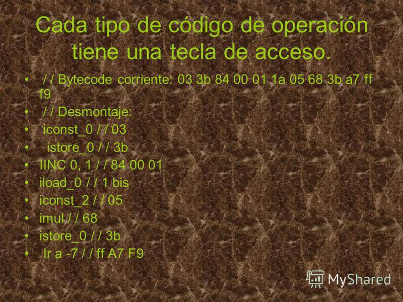 Cada tipo de código de operación tiene una tecla de acceso. / / Bytecode corriente: 03 3b 84 00 01 1a 05 68 3b a7 ff f9 / / Desmontaje: iconst_0 / / 03 istore_0 / / 3b IINC 0, 1 / / 84 00 01 iload_0 / / 1 bis iconst_2 / / 05 imul / / 68 istore_0 / /