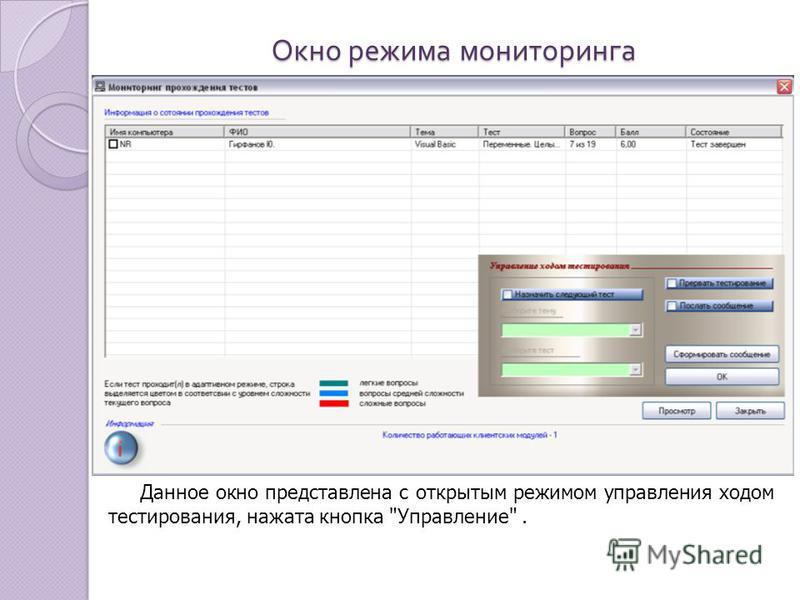 Окно режима мониторинга Данное окно представлена с открытым режимом управления ходом тестирования, нажата кнопка Управление.