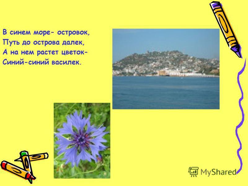 В синем море- островок, Путь до острова далек, А на нем растет цветок- Синий-синий василек.