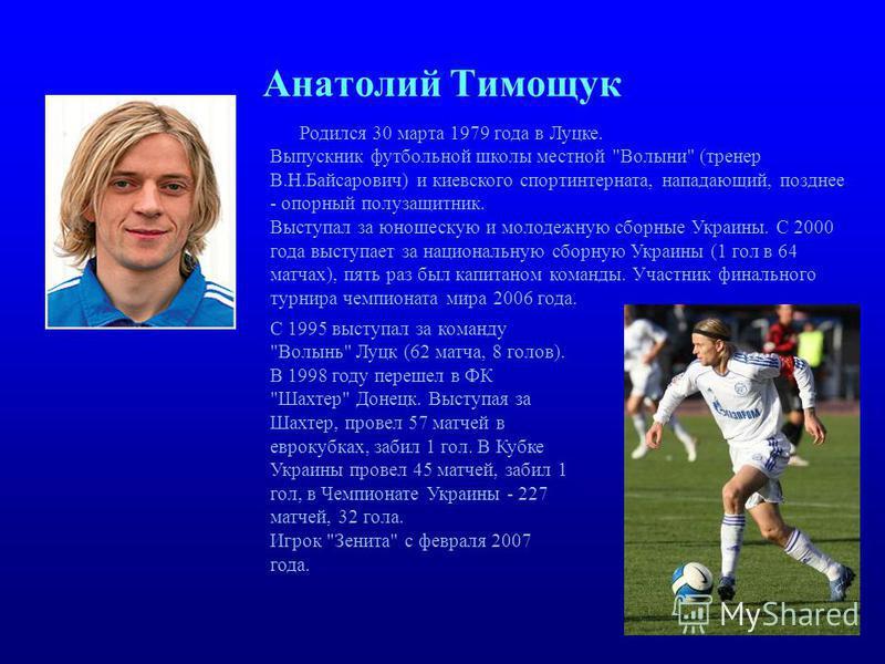 Анатолий Тимощук Родился 30 марта 1979 года в Луцке. Выпускник футбольной школы местной