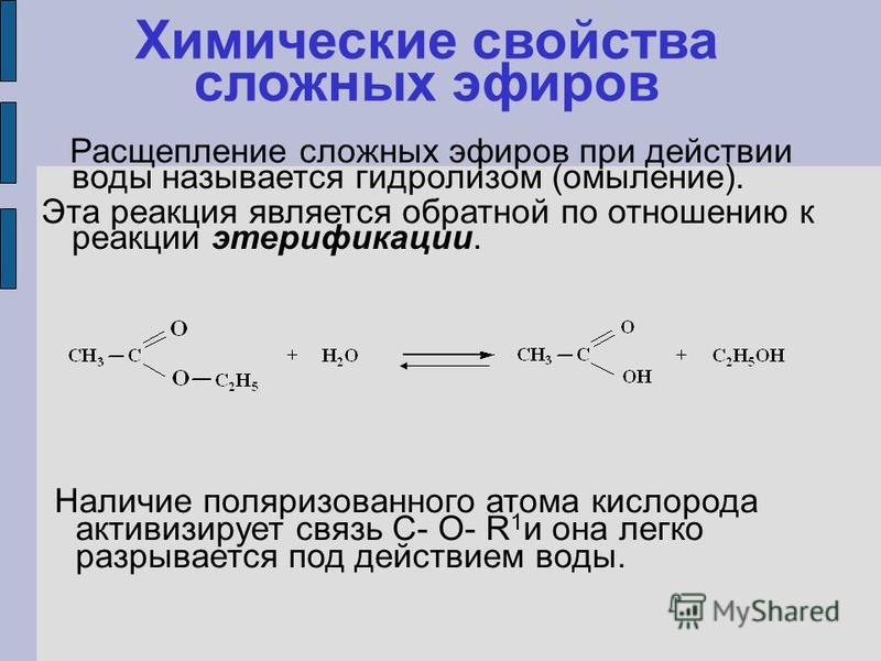 Химические свойства сложных эфиров Наличие поляризованного атома кислорода активизирует связь C- O- R 1 и она легко разрывается под действием воды. Расщепление сложных эфиров при действии воды называется гидролизом (омыление). Эта реакция является об