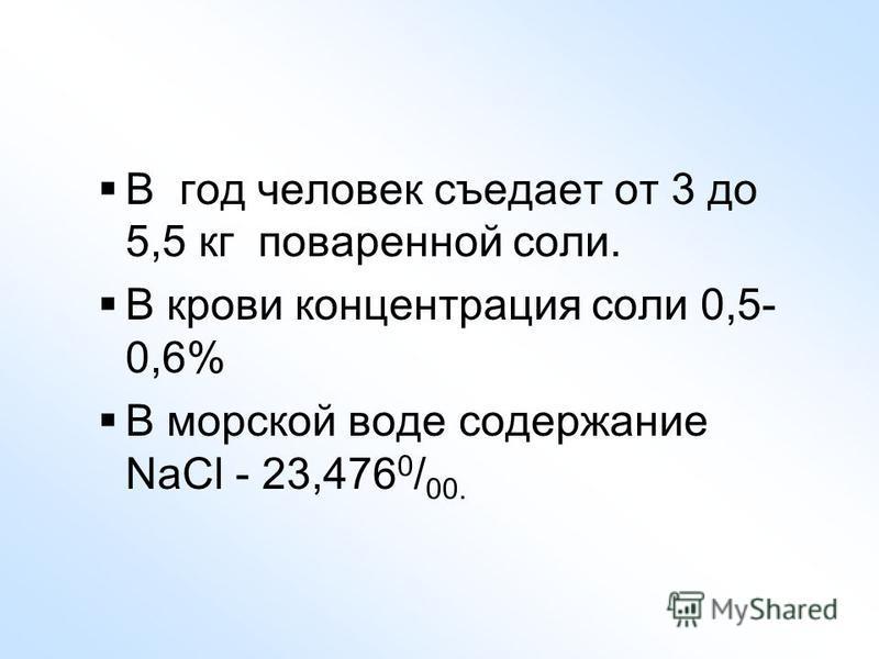 В год человек съедает от 3 до 5,5 кг поваренной соли. В крови концентрация соли 0,5- 0,6% В морской воде содержание NaCl - 23,476 0 / 00.