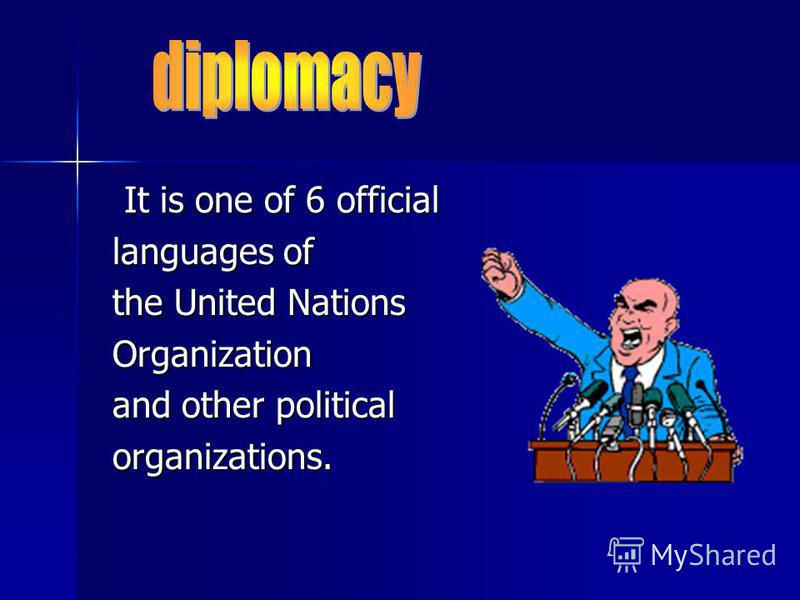 It is one of 6 official It is one of 6 official languages of languages of the United Nations the United Nations Organization Organization and other political and other political organizations. organizations.