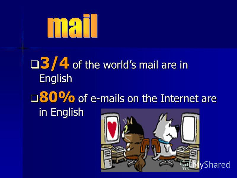 3/4 of the worlds mail are in English 3/4 of the worlds mail are in English 80% of e-mails on the Internet are in English 80% of e-mails on the Internet are in English