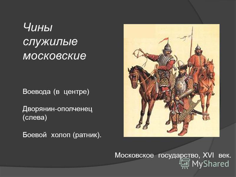 Чины служилые московские Воевода (в центре) Дворянин-ополченец (слева) Боевой холоп (ратник). Московское государство, XVI век.
