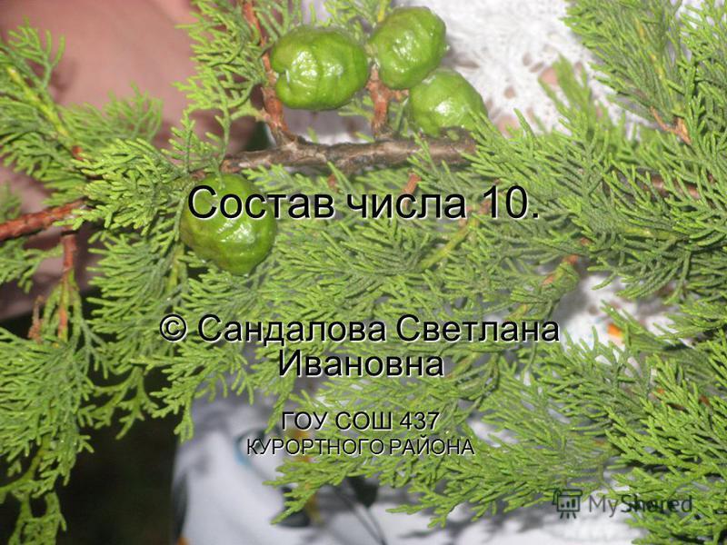 Состав числа 10. © Сандалова Светлана Ивановна ГОУ СОШ 437 КУРОРТНОГО РАЙОНА