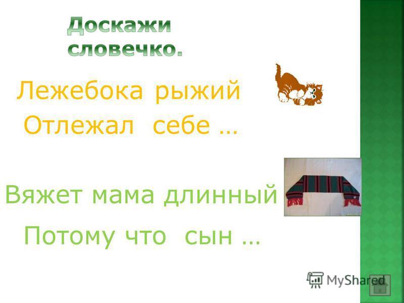 Лежебока рыжий Отлежал себе … Вяжет мама длинный Потому что сын …