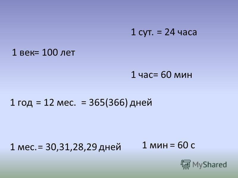 1 век= 100 лет 1 год= 12 мес. 1 мес. = 365(366) дней = 30,31,28,29 дней 1 сут.= 24 часа 1 час= 60 мин = 60 с 1 мин