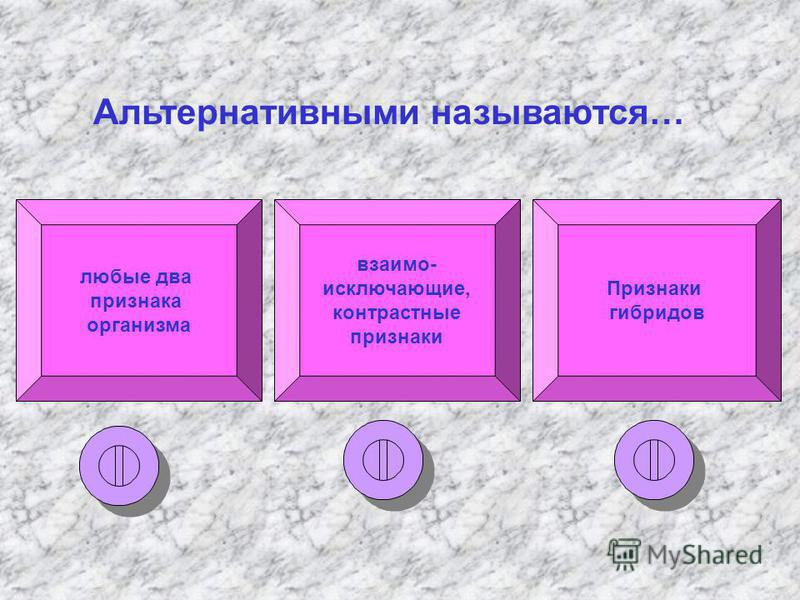 любые два признака организма взаимоисключающие, контрастные признаки Признаки гибридов Альтернативными называются…