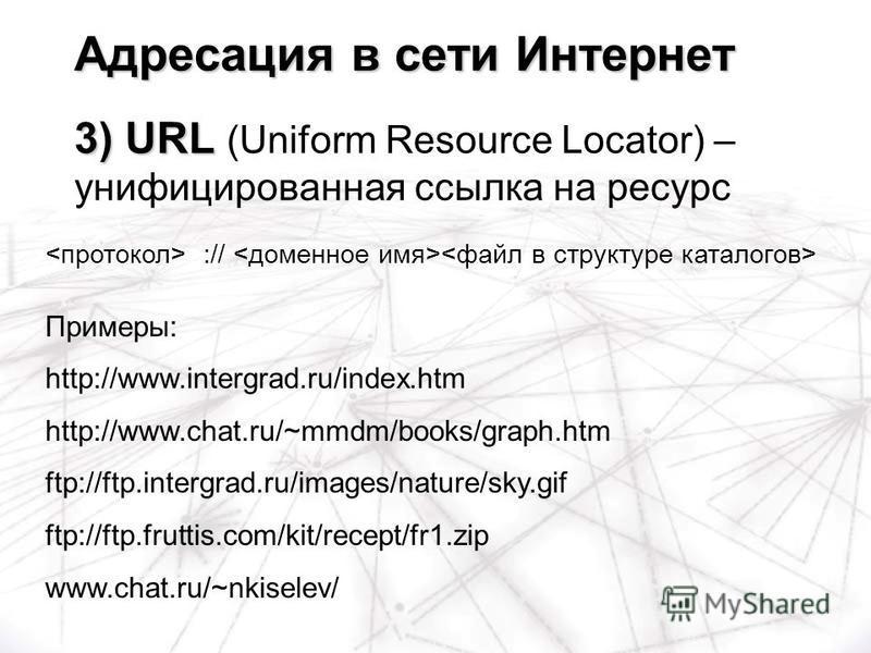 :// Примеры: http://www.intergrad.ru/index.htm http://www.chat.ru/~mmdm/books/graph.htm ftp://ftp.intergrad.ru/images/nature/sky.gif ftp://ftp.fruttis.com/kit/recept/fr1. zip www.chat.ru/~nkiselev/ Адресация в сети Интернет 3) URL Адресация в сети Ин